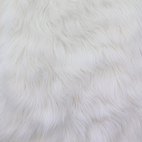 Fake Fur Fabric - Faux Fake Fur Solid Shaggy Long Pile Fabric - White - 60