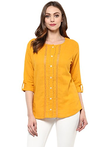 Avaana Mustard Cut and Sew Cotton-Slub Short Kurta, Large, ()
