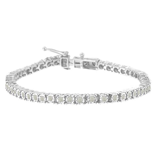 Diamond Womens Tennis Bracelet - Sterling Silver Rose-Cut Diamond Tennis Bracelet (1 cttw, I-J Color, I3 Clarity)