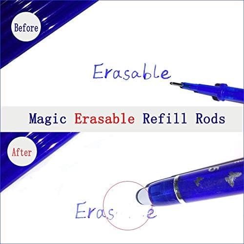 Erasable Gel Pen 2 50 Pcs Red Blue Black Ink Refill Rods