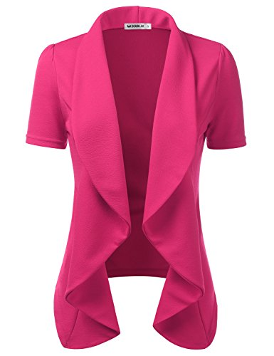 CLOVERY Women's Short Sleeve Cotton No-Buckle Blazer Jacket Suits Fuchsia 2XL Plus Size Cotton Short Sleeve Suit