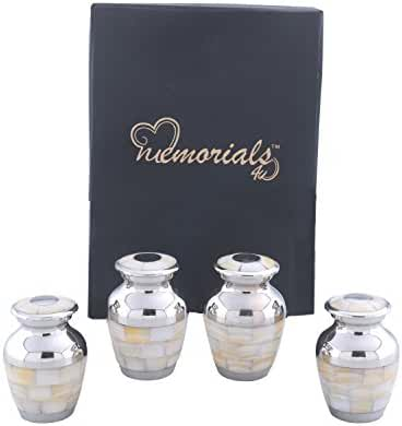 Set of 4 Silver Mother of Pearl Keepsake Urns - Pearl Keepsake Urns - Pearl Token Urns - Handcrafted and Affordable Mother of Pearl Mini Urns for Ashes