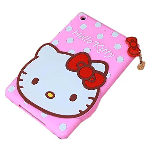 nix-Color 3D Cute Soft Silicone [Drop Proof,Shock Proof,Anti Slip] Despicable Me 2 Hello Kitty Cartoon Gel Rubber Back Cover Case for iPad Mini 1 2 3 (Hello Kitty Pink) ()