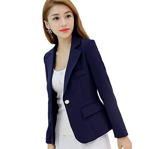 Fit Con Manica Lunga Giacca Donna Business Da Tailleur Primaverile Casuale Donne Slim Blazer Bavero Cappotto Battercake Autunno Button Blau Colori Solidi Moda Tasche Elegante N0mnw8