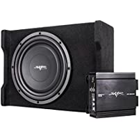 Skar Audio Single 12 400 Watt Loaded Shallow Subwoofer Enclosure Bass Package with Amplifier and Wiring