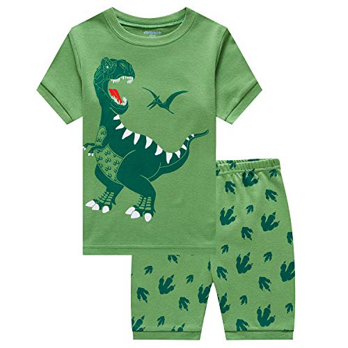 (Little Boys Pajamas Shorts Set for Toddler Summer Clothes Dinosaur Sleepwear Cotton 2 Piece Kids Pjs Size 1-8 Years)