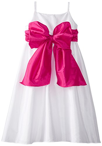 Us Angels Big Girls' Empire Waist Dress with Sash, Sorbet, 10 ()