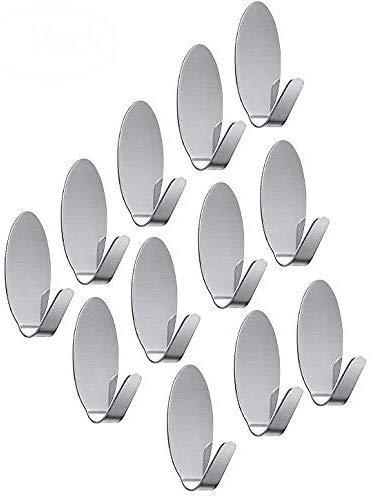 AmigozZ Multipurpose Small Oval Stainless Steel Adhesive Hooks   Load Capacity Upto 1 Kg   Set of 12