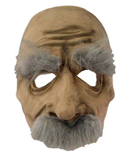 [Halloween Adult Mask - Hairy Old Man (Old Man with Grey Hair)] (Old Man Halloween Mask)