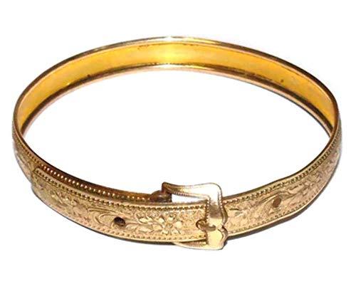 Vintage Signed Hayward Gold Plated Adjustable Western Belt Style Bracelet