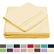 King Size Bed Sheets - Pastel Yellow Luxury Sheet Set - Deep Pocket - Super Soft Hotel Bedding - Cool & Wrinkle Free - 1 Fitted, 1 Flat, 2 Pillow Cases - Light Yellow King Sheets - 4 Piece