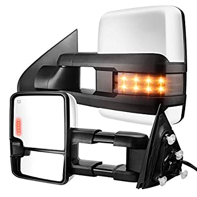 AUTOSAVER88 Towing Mirrors Compatible with 2014-2020 Chevy Silverado GMC Sierra 1500, 2015-2020 Silverado/Sierra 2500HD 3500HD Pickup, Tow Mirrors with Power Heated Turn Signal Light LH+RH Side Pair: Automotive