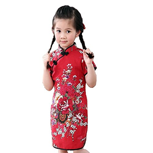 Hooyi Girls Flower Dress Qipao Cheongsam 2-16Year Children Clothing (Hot Red, 16)