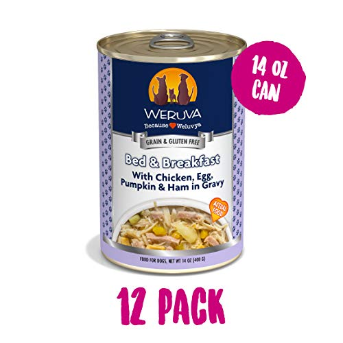 Weruva Classic Dog Food, Bed & Breakfast with Chicken, Egg, Pumpkin & Ham in Gravy, 14oz Can (Pack of 12)