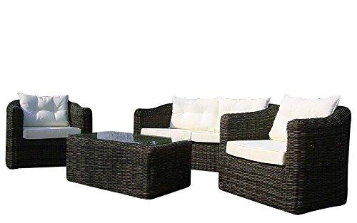 Baidani Gartenmöbel-Sets 10a00009 Designer Rattan Essgruppe Pearl, Tisch - mit Glasplatte, 2-er-Sofa, Sessel, braun