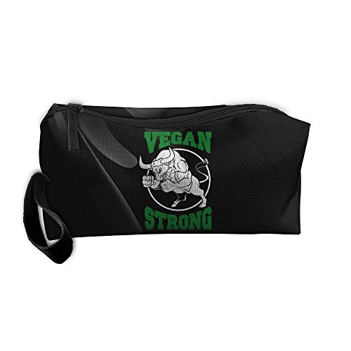 Vegan Strong Fist Weightlifting Workout Plant Diet Portable Zipper Storage Bag Portable Storage Pouch Travel Makeup Bag by JYDPROV