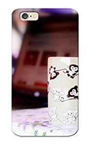 Christmas Gift - Tpu Case Cover For Iphone 6 Strong Protect Case - Mood Cup Mug Bright Monkey Bokeh Design
