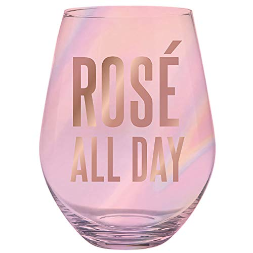 Slant Collections Women's Rose All Day Jumbo Stemless Wineglass, Pink, One Size