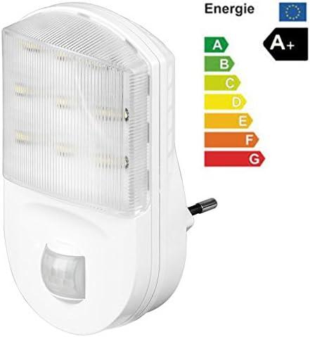 LED Nachtlicht [Treppenlicht, Notlicht] mit Bewegungsmelder für die Steckdose; kaltweiss; 20 Lumen; Energieeffizienzklasse A+