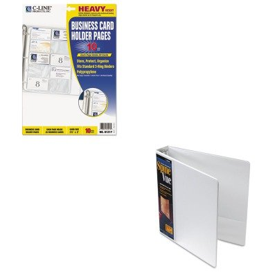 KITCLI61217CRD16703 - Value Kit - Cardinal SpineVue Locking Round Ring Binder (CRD16703) and C-line Business Card Binder Pages (CLI61217) by Cardinal