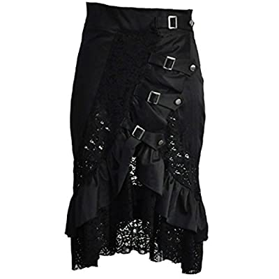 Steampunk Skirt and Hem Black Cotton Lace Skirt Punk Rock Gothic Black Skirt Hip Club Wear Vintage