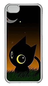 iPhone 5c Case - Unique Cool And The Moon Lawn Lovely Black Cat Hard Clear Mobile Phone Protecting Shell WANGJING JINDA