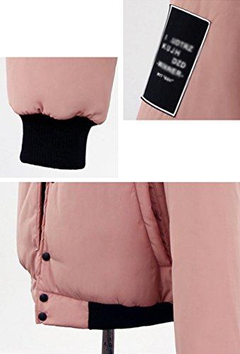 Acolchado Pink Con Botones Parka Mujer Cã¡lido Bã©isbol De Chaqueta Linnuo Cazadora Grueso Capucha Tops 18HwOW