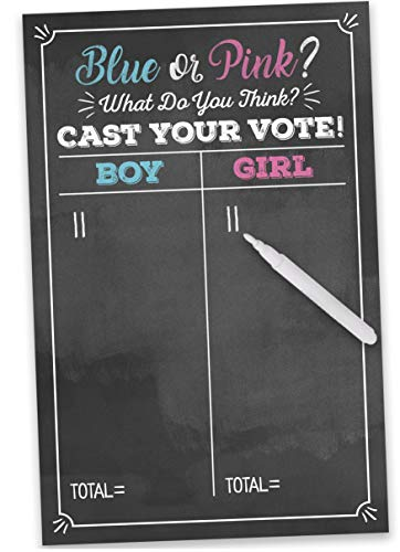 Gender Reveal Voting Poster Party Game & White Marker- Large 11 x 17