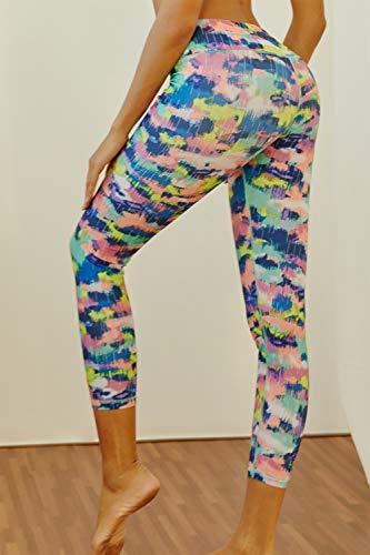 512ea2bee4 Teniux High Waist Leggings for Women, Mist Print 7/8 Yoga Pants Tummy  Control