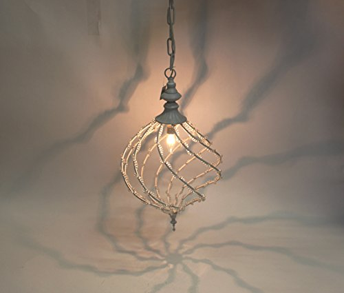 Antique White Wrought Iron Clear Acrylic Crystal Beads Chandelier (Shabby Chic White Chandelier)