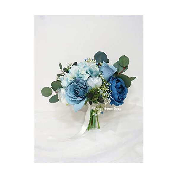 Sweet Home Deco Silk Rose Ranunculus Eucalyptus Baby's Breath Mixed Wedding Bridal Bridesmaid Bouquet Boutonniere in Blue (Blue-8''W Bridal Bouquet)