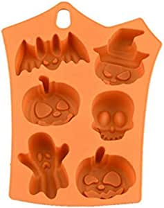 Chocolate Mould Halloween Motif DIY Mould,6 Cavity Halloween Silicone Cake Mold Decor Soap Chocolate Baking Mould for Candy Mold Jelly Mold Soap Mold Chocolate(-40 to 230 Degrees Celsius)