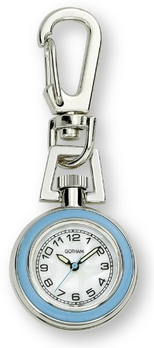 Gotham Unisex Silver-Tone Analog Quartz Keychain Clip Fob Watch # (Keychain Pocket Watch)