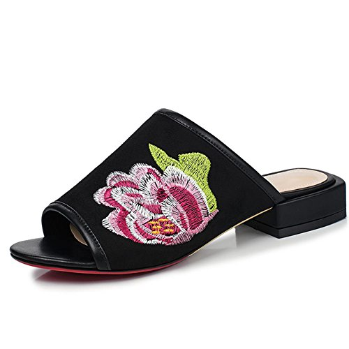 Black Embroidery Women's Heel Toe Peep Mule DecoStain Low S4qgP