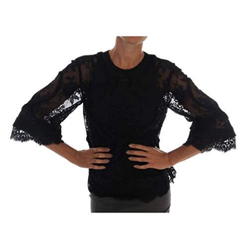 - Dolce & Gabbana Black Floral Lace Cutout Silk Top