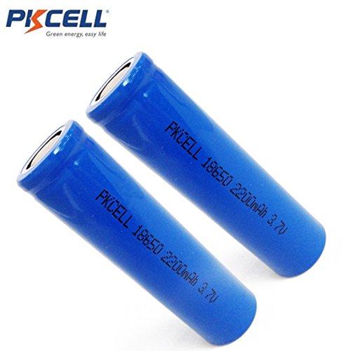 2 Pack 18650 3.7V 2200mAh Li-ion Rechargeable Flat Top Batteries
