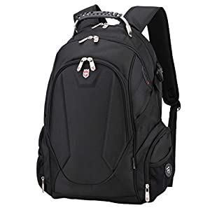 """Swiss Ruigor 9508 Water Resistant Polyester Laptop Backpack With Side Pocket Fit For 15.6"""" Laptop And Notebook - Black"""