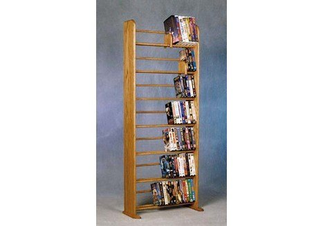 Wood Shed Solid Oak 7 Row Dowel DVD/VHS Rack Clear by Wood Shed