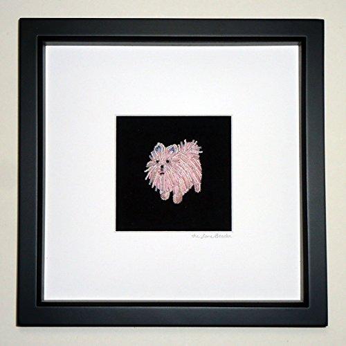 Whimsical Portrait Framed (Pink or White POMERANIAN Beaded Mini Pet Portrait- Framed Dog Art- 8x8 shadowbox (Made to Order) (e))