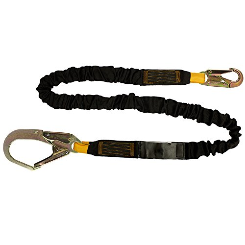 Fusion Climb 4ft 48''x2'' Internal Shock Absorbing Fall Protection Safety Lanyard with Steel Snap Rebar Hooks 23kN Black by Fusion Climb