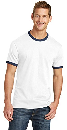 Port & Company Mens 5.4-oz 100% Cotton Ringer Tee PC54R -White/ Navy S ()