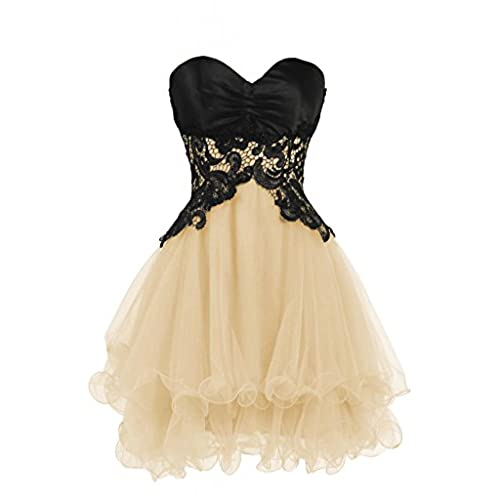 Ellames Sweetheart Bridesmaid Short Prom Homecoming Party Dresses For Juniors Champagne US 14