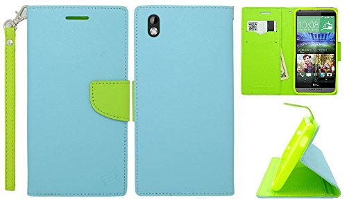 LF 4 in 1 Bundle - Premium PU Leather Flip Wallet Credit Card Cover Case, Lf Stylus Pen, Screen Protector & Droid Wiper Accessory for (Virgin Mobile) HTC Desire 816 (Wallet Teal) (Virgin Mobile 816 Cases)
