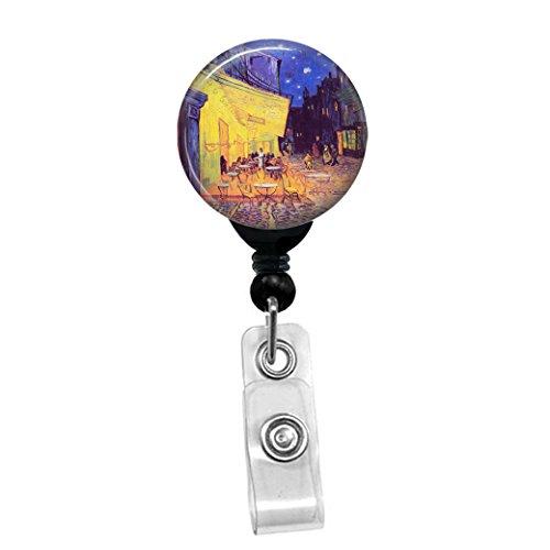 - Vincent Van Gogh - Cafe Terrace At Night - Retractable Badge Reel - ID Name Tag Custom Badge Holder (Black Badge Reel with Belt Slide Clip)