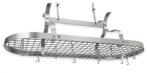 Enclume Premier Scroll Arm Oval Ceiling Pot Rack, Stainless Steel