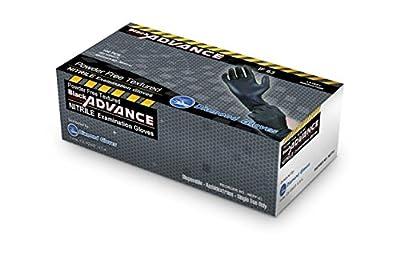 Black Advance Nitrile Examination Powder Free Gloves, Black, 6.3 mil, Heavy Duty, Medical Grade, 1000pcs/case, Case of 10 boxes, 100/box by Diamond Gloves