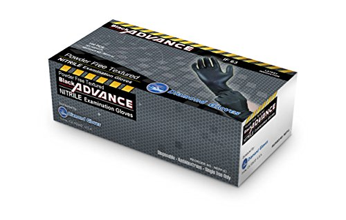 Black Advance Nitrile Examination Powder Free Gloves, Black, 6.3 mil, Heavy Duty, Medical Grade, 1000pcs/case, Case of 10 boxes, 100/box by Diamond Gloves by Diamond Gloves