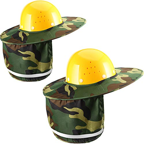 - Jovitec 2 Pieces Helmet Sun Shade Hard Hat Sun Neck Shield with Full Brim, Reflective Stripe, Adhesive Hook for Safety Helmet (Camouflage)