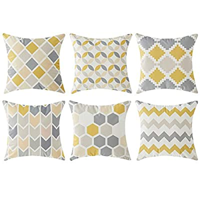 Top Finel Square Decorative Throw Pillow Covers Soft Microfiber Outdoor Cushion Covers 18 x 18 for Couch Sofa Bedroom, Set of 6, Grey & Yellow - SUPER PLUSH MATERIAL & SIZE: Made of ultra soft microfiber, comfortable to touch and lay on. 18 X 18 Inch per pack, included 6 packs per set, NO PILLOW INSERTS. WORKMANSHIP: Delicate hidden zipper closure was designed to meet an elegant look. Tight zigzag over-lock stitches to avoid fraying and ripping. NO PECULIAR SMELL: Because of using environmental and high quality ultra soft fabric,our throw pillow cases are the perfect choice for those suffering from asthma, allergen, and other respiratory issues. - patio, outdoor-throw-pillows, outdoor-decor - 41XZvaZaNiL. SS400  -
