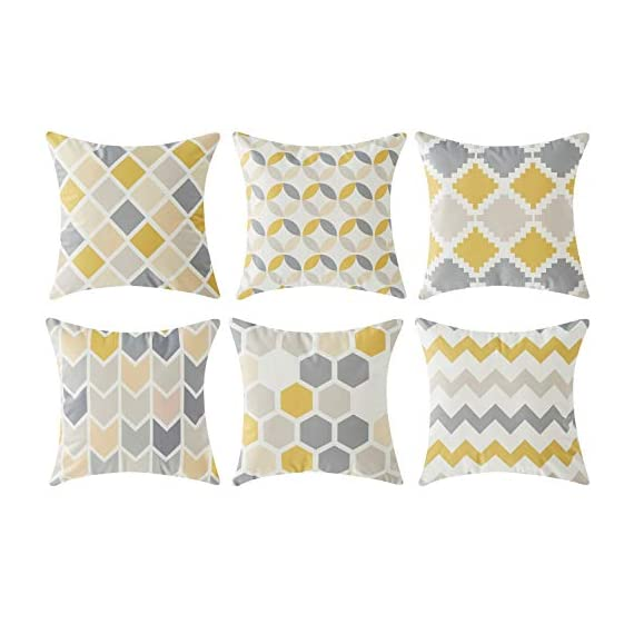 Top Finel Square Decorative Throw Pillow Covers Soft Microfiber Outdoor Cushion Covers 18 x 18 for Couch Sofa Bedroom, Set of 6, Grey & Yellow - SUPER PLUSH MATERIAL & SIZE: Made of ultra soft microfiber, comfortable to touch and lay on. 18 X 18 Inch per pack, included 6 packs per set, NO PILLOW INSERTS. WORKMANSHIP: Delicate hidden zipper closure was designed to meet an elegant look. Tight zigzag over-lock stitches to avoid fraying and ripping. NO PECULIAR SMELL: Because of using environmental and high quality ultra soft fabric,our throw pillow cases are the perfect choice for those suffering from asthma, allergen, and other respiratory issues. - patio, outdoor-throw-pillows, outdoor-decor - 41XZvaZaNiL. SS570  -